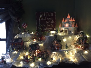 My North Pole village. I love creating this scene every year, a different set up each time.